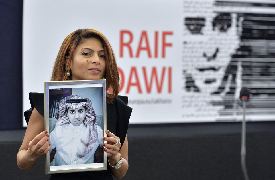 Raif Badawi's wife accepts prestigious Sakharov Prize for human rights
