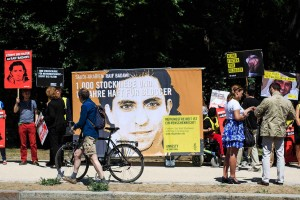 Images of the Saudi blogger Raif Badawi during a demonstration in support of him outside the Saudi Embassy in Berlin in June. Credit Carsten Koall/Getty Images