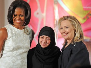 Samar Badawi with Michelle Obama and Hillary Clinton Getty Images.