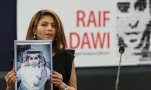 Ensaf Haidar, wife of jailed Saudi blogger Raif Badawi, will collect the freedom of speech award on his behalf. Photograph: Patrick Seeger/EPA