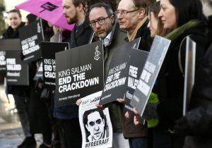 In front of the Saudi Arabia Embassy on January 8, 2016.