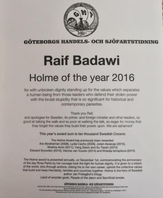 Raif Badawi Holme award 2016